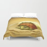 turtle Duvet Covers featuring turtle by Antracit