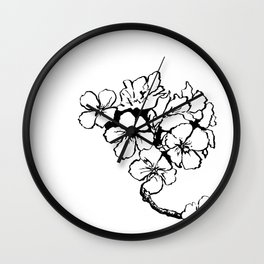 Cherry Blossom Ink Drawing  Wall Clock