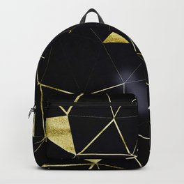 Gold Triangle Geometric Pattern on Black Suede Backpack