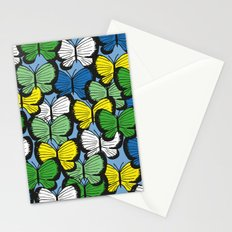 Green yellow blue butterflies Stationery Cards