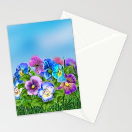 Beautiful Spring Violet Pansy Flowers Garden Stationery Cards