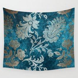 Aqua Teal Vintage Floral Damask Pattern Wall Tapestry