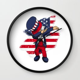 4th Of July Dabbing Freedom Liberty America USA Independence Day Gift Wall Clock