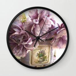 Lavender Roses Impressionistic Romantic Lavender Floral Home Decor Wall Clock