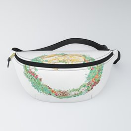 Christmas wreath watercolor  Fanny Pack
