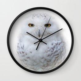 Dreamy Encounter with a Serene Snowy Owl Wall Clock