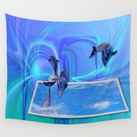 dolphins Wall Tapestries featuring Leaping Dolphins by Roger Wedegis