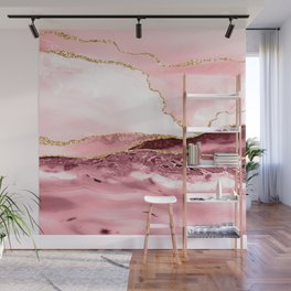Pink And Gold Marble Waves Wall Mural