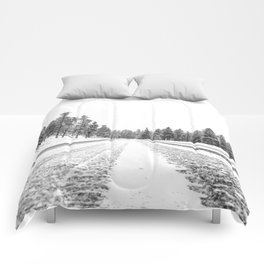 Snow Road // Snowy Winter Wonderland Black and White Landscape Photography Ski Poster Comforters