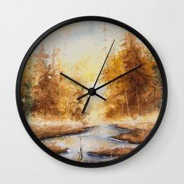 Autumn Watercolor Wall Clock