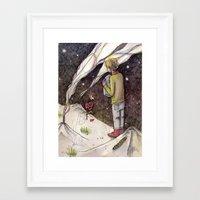 "le petit prince Framed Art Prints featuring Le Petit Prince ""Responsible"" by Danielle Ceneta"