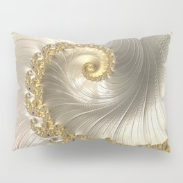 Gold and Pearl Fractal Swirl Pillow Sham