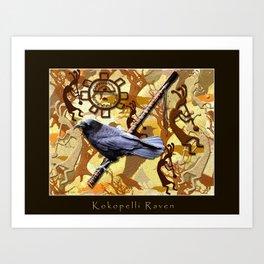 Kokopelli Raven - A Tribute to Music-lovers Art Print
