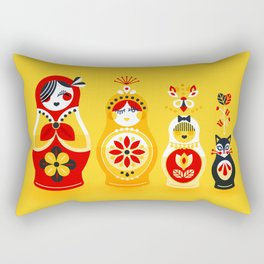Russian Nesting Dolls – Yellow & Red Rectangular Pillow