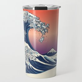 The Great Wave of Maltese Travel Mug