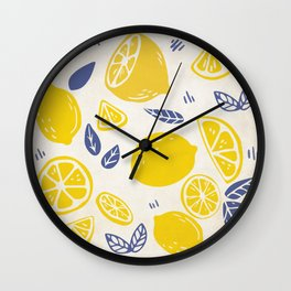 Fun and Kitschy Lemon Pattern on White Wall Clock