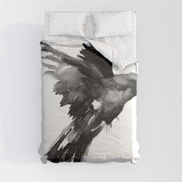 Flying Raven. tribal raven lover black and white raven decor Comforters