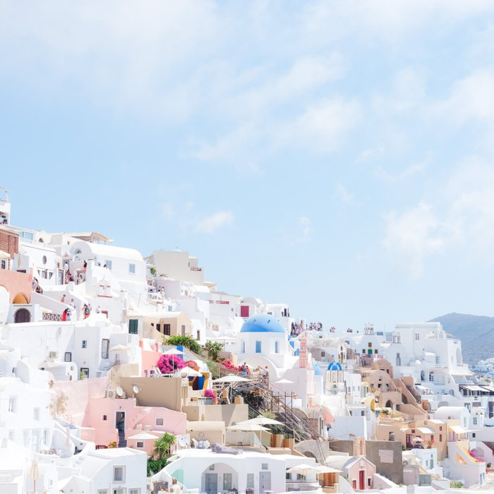 Pastel Colored View on Santorini Greece Comforters