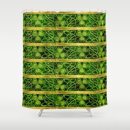 Irish Shamrock -Clover Gold and Green pattern Shower Curtain