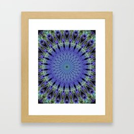 Mandala in neon blue and green Framed Art Print