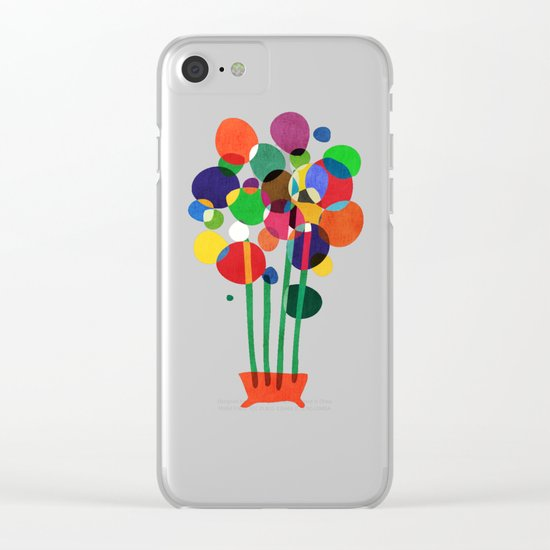 Happy flowers in the vase Clear iPhone Case