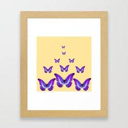 AMETHYST PURPLE BUTTERFLIES FLOCK CREAMY YELLOW Framed Art Print