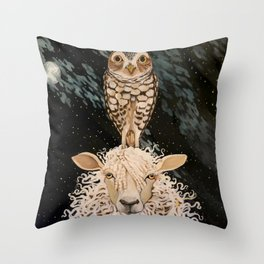 Ewe and Owl Throw Pillow