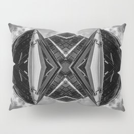 Alien Mothership and Cloudscape in Black and White Pillow Sham