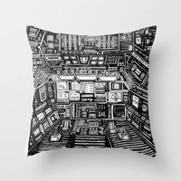 cabin Throw Pillows featuring Lost cabin 666 by Marcelo Romero