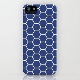 Blue honeycomb geometric pattern iPhone Case