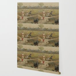 Vintage Painting of a Baseball Game (1887) Wallpaper