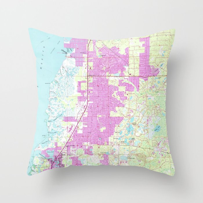 Port Richey Florida Map.Port Richey New Port Richey Florida Map 1954 Throw Pillow By