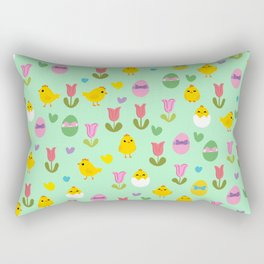 Easter - chick and tulips pattern Rectangular Pillow