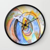 trip Wall Clocks featuring trip by Meld & Heal