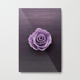 PURPLE - ROSE - ON - WOODEN - SURFACE Metal Print