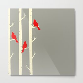 Bird Neck Gator Birch Tree Cardinal Birds Bird Metal Print