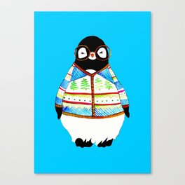 Ugly Holiday Sweater Hipster Penguin Canvas Print