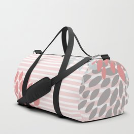 Floral and Stripes, Blush Pink, Coral, Aqua, Gray Duffle Bag