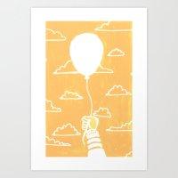 Cloudy Balloon Art Print
