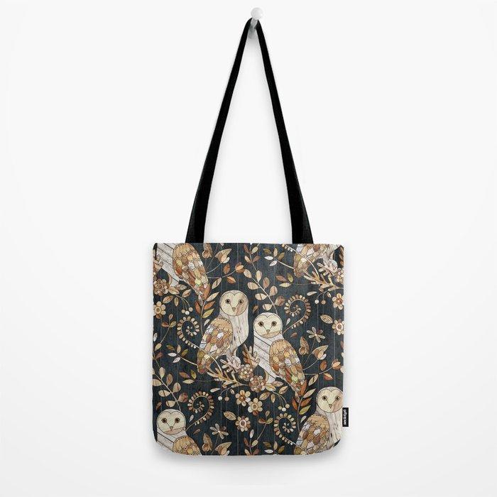 Wooden Wonderland Barn Owl Collage Tote Bag