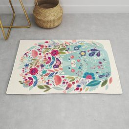 Cute Cozy Watercolour Illustration Scandinavian Style Chubby Blue Cat Floral Forest Illustration Rug