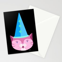 Pink Cat in a Party Hat Stationery Cards
