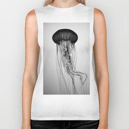 Jellyfish Black and White Biker Tank