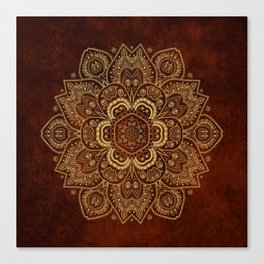 Gold Flower Mandala on Red Textured Background Canvas Print