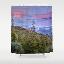 """Lenticular clouds over the mountains """"Mountain light"""". Shower Curtain"""