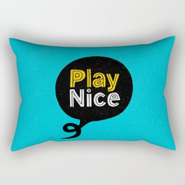 Play Nice blue black and yellow inspirational typography poster bedroom wall home decor Rectangular Pillow