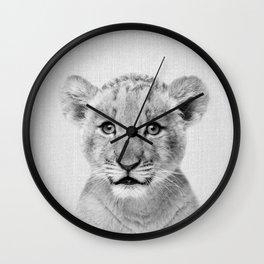 Baby Lion - Black & White Wall Clock