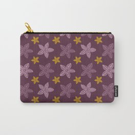 Retro Purple Polynesian Floral Pattern Carry-All Pouch