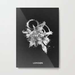 London, United Kingdom Black and White Skyround / Skyline Watercolor Painting (Inverted Version) Metal Print