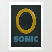sonic Art Prints featuring Sonic by Jynxit
